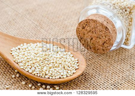 Healthy quinoa seeds a high protein vegetable from South America which forms an important part of the diet and is considered a staple also sort after because it is gluten-free