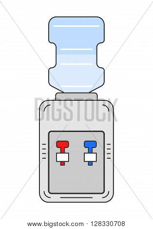 Water cooler. Flat color icon equipment for drinking. Clean water. Vector illustration