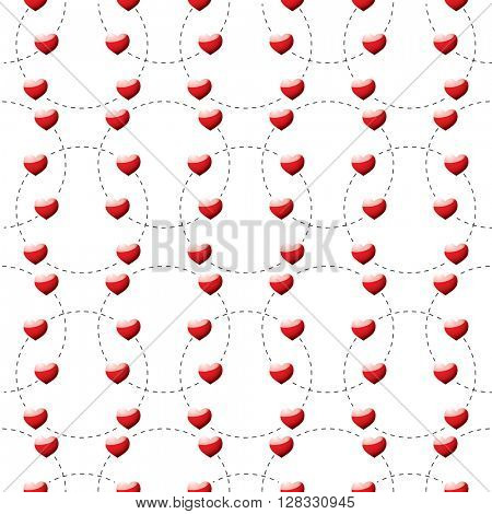 Red heart background template with dotted lines seamless