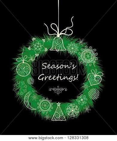 Season greetings with xmas hanging decorative wreath