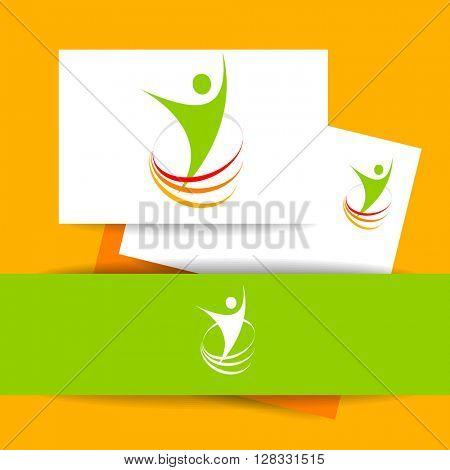 Success logo. Energy symbol. Winner logo template. Identity business concept. Human abstract. Vector illustration.