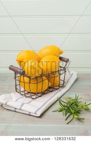 Lemons In A Old Wire Basket