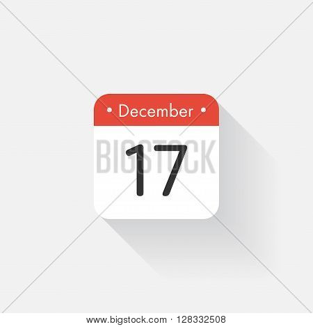 Calendar Icon with long shadow. Flat style. Date, day and month. Reminder. Vector illustration. Organizer application, app symbol. Ui. User interface sign. December. 17