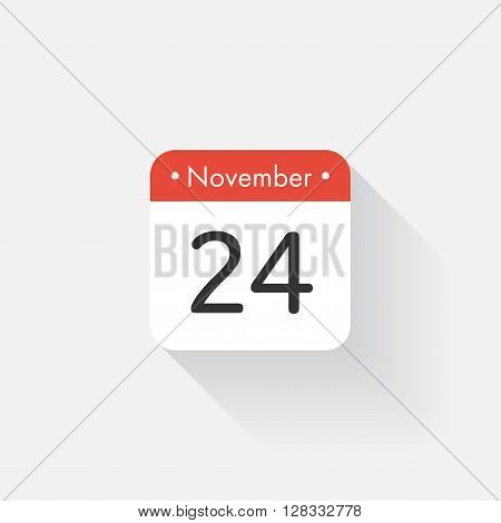 Calendar Icon with long shadow. Flat style. Date, day and month. Reminder. Vector illustration. Organizer application, app symbol. Ui. User interface sign. November. 24
