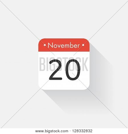 Calendar Icon with long shadow. Flat style. Date, day and month. Reminder. Vector illustration. Organizer application, app symbol. Ui. User interface sign. November. 20