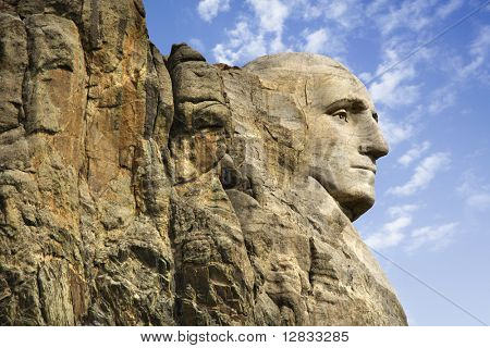 Profile of George Washington carving at Mount Rushmore National Monument, South Dakota.