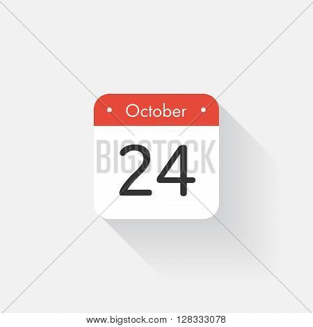 Calendar Icon with long shadow. Flat style. Date, day and month. Reminder. Vector illustration. Organizer application, app symbol. Ui. User interface sign.  October. 24