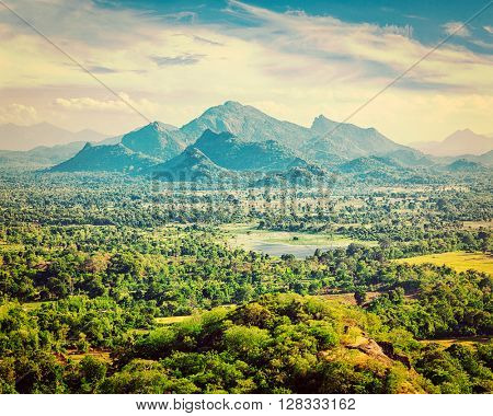 Vintage retro effect filtered hipster style image of Sri Lankan landscape - view form Sigiriya rock, Sri Lanka,
