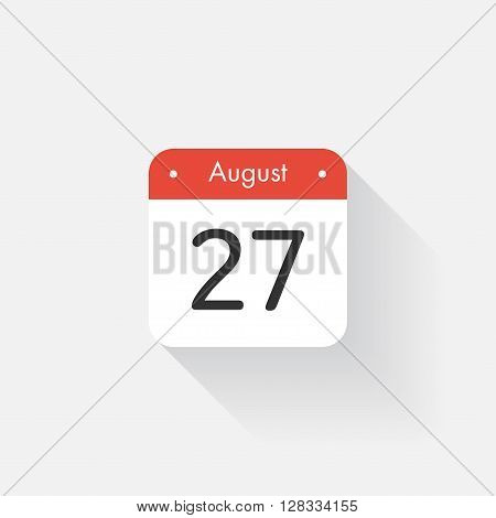 Calendar Icon with long shadow. Flat style. Date, day and month. Reminder. Vector illustration. Organizer application, app symbol. Ui. User interface sign. August. 27