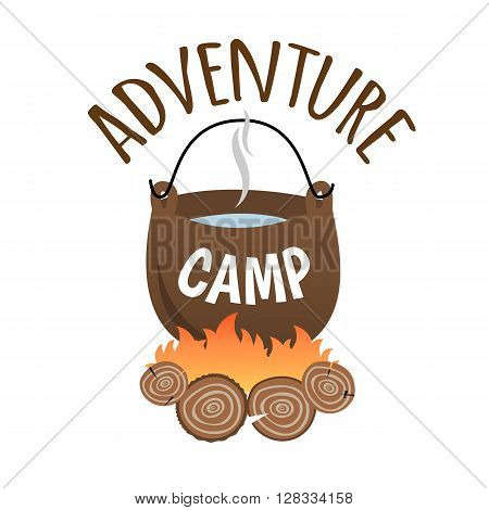Adventure Camp. Tourist camp logo. Tourist pot hanging over the fire.