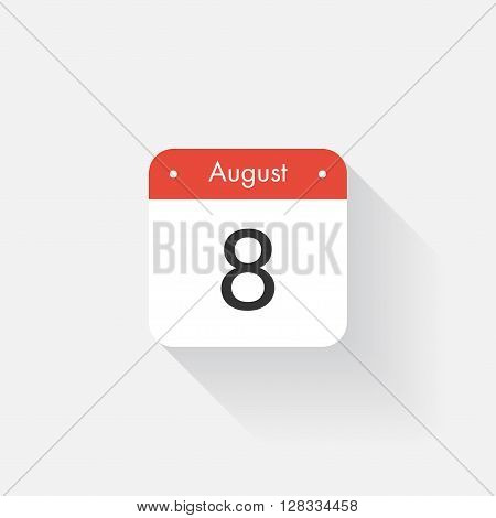 Calendar Icon with long shadow. Flat style. Date, day and month. Reminder. Vector illustration. Organizer application, app symbol. Ui. User interface sign. August. 8