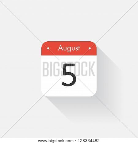 Calendar Icon with long shadow. Flat style. Date, day and month. Reminder. Vector illustration. Organizer application, app symbol. Ui. User interface sign. August. 5