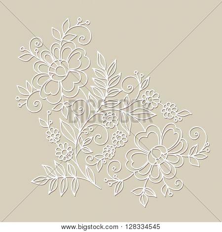 Flower design ornament element. Hand drawn flowers.