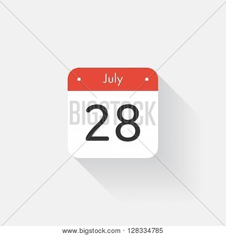 Calendar Icon with long shadow. Flat style. Date, day and month. Reminder. Vector illustration. Organizer application, app symbol. Ui. User interface sign. July. 28