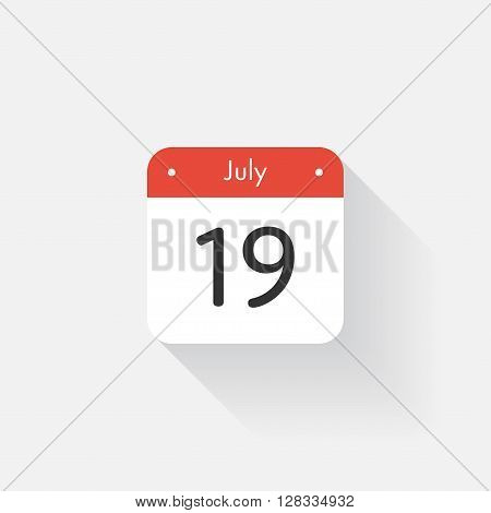 Calendar Icon with long shadow. Flat style. Date, day and month. Reminder. Vector illustration. Organizer application, app symbol. Ui. User interface sign. July. 19