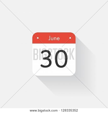Calendar Icon with long shadow. Flat style. Date, day and month. Reminder. Vector illustration. Organizer application, app symbol. Ui. User interface sign. June. 30