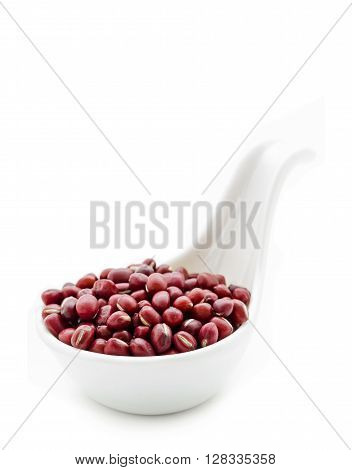 azuki beans red beans in white spoon isolated on white background.