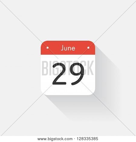 Calendar Icon with long shadow. Flat style. Date, day and month. Reminder. Vector illustration. Organizer application, app symbol. Ui. User interface sign. June. 29
