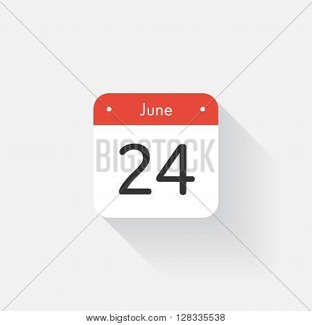Calendar Icon with long shadow. Flat style. Date, day and month. Reminder. Vector illustration. Organizer application, app symbol. Ui. User interface sign. June. 24