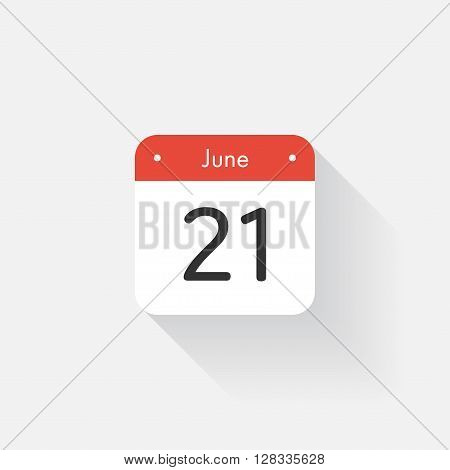 Calendar Icon with long shadow. Flat style. Date, day and month. Reminder. Vector illustration. Organizer application, app symbol. Ui. User interface sign. June. 21
