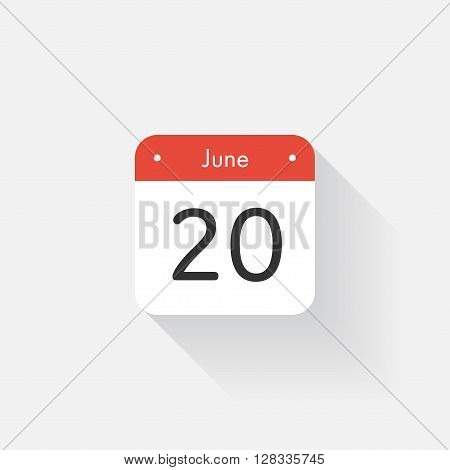 Calendar Icon with long shadow. Flat style. Date, day and month. Reminder. Vector illustration. Organizer application, app symbol. Ui. User interface sign. June. 20