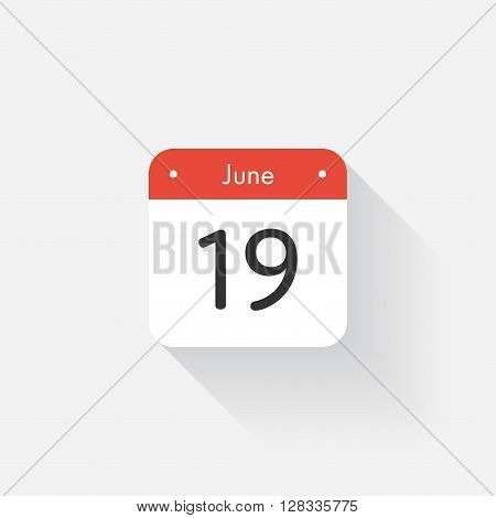 Calendar Icon with long shadow. Flat style. Date, day and month. Reminder. Vector illustration. Organizer application, app symbol. Ui. User interface sign. June. 19