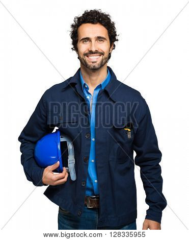 Engineer portrait isolated on white