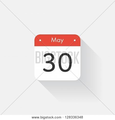 Calendar Icon with long shadow. Flat style. Date, day and month. Reminder. Vector illustration. Organizer application, app symbol. Ui. User interface sign. May. 30