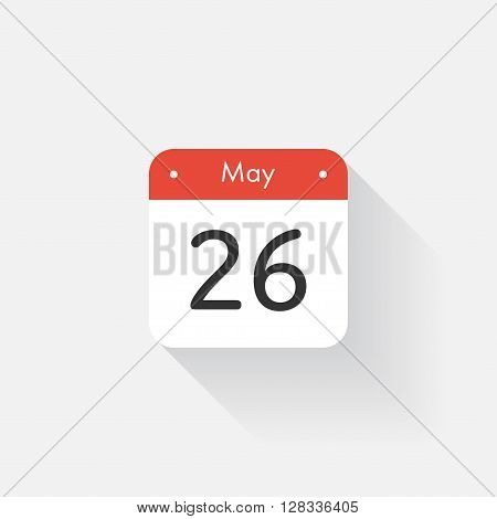 Calendar Icon with long shadow. Flat style. Date, day and month. Reminder. Vector illustration. Organizer application, app symbol. Ui. User interface sign. May. 26