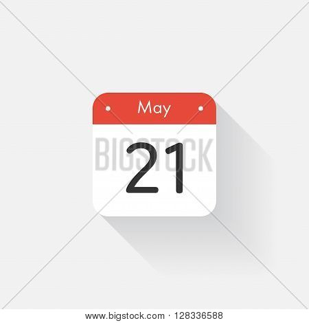 Calendar Icon with long shadow. Flat style. Date, day and month. Reminder. Vector illustration. Organizer application, app symbol. Ui. User interface sign. May. 21