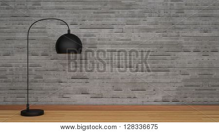Concrete wall and wooden floor with black lamp
