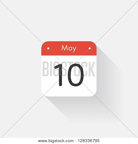 Calendar Icon with long shadow. Flat style. Date, day and month. Reminder. Vector illustration. Organizer application, app symbol. Ui. User interface sign. May. 10
