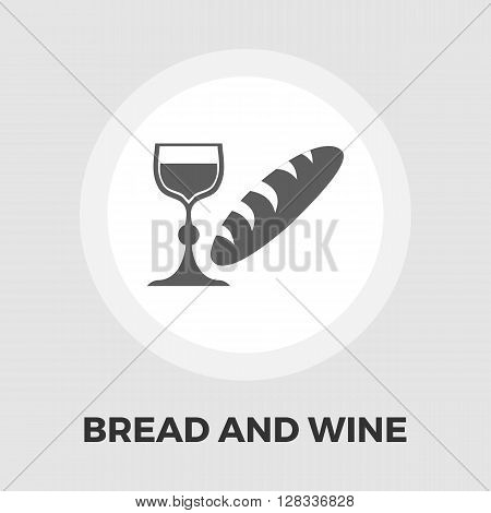 Bread and wine icon vector. Flat icon isolated on the white background. Editable EPS file. Vector illustration.