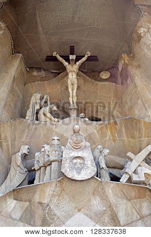 BARCELONA, SPAIN - AUGUST 3, 2015: Sculptures on the Passion facade of the basilica Sagrada Familia in Barcelona, Spain