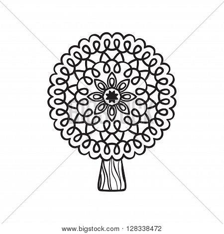 Mandala tree. Hand drawn illustration of tree with round doodle ornament isolated on white background