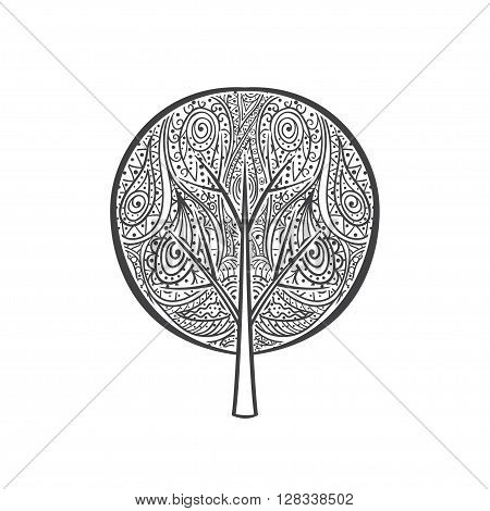 Mandala tree. Hand drawn doodle tree with abstract ornament isolated on white background