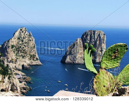 the  capri's faraglioni, the beautiful island in napoli