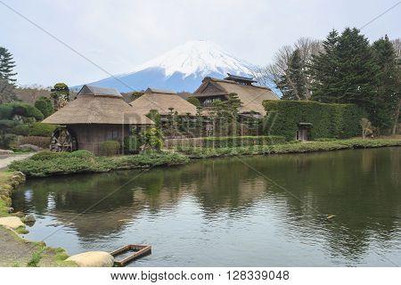 Oshino Hakkai a small village in the Fuji five lake region. With Mt. Fuji.