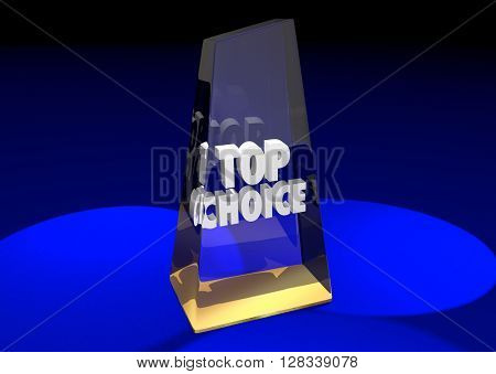 Top Choice Award Honor Best Ultimate Pick Poll Winner 3d Illustration