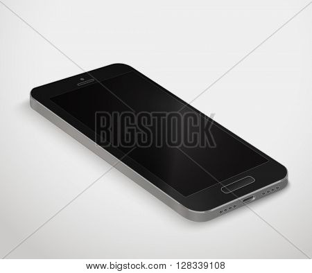 Modern smartphone template. Dark mobile phone vector illustration