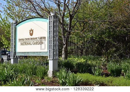 WASHINGTON DC - APR 16: The United States National Botanic Garden in Washington DC, as seen on April 16, 2016. It is the oldest continually operating botanic garden in the United States.
