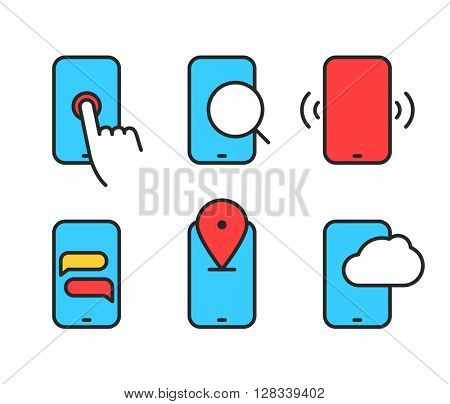 Different smartphone collection. Lineart color icons set