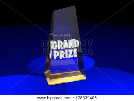 Grand Prize Award Winner Top First Place 3d Illustration Words
