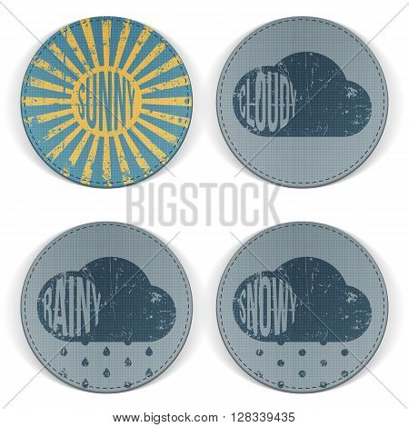 Weather retro scratched circle Banners with Text. Sunny, cloudy, rainy and snowy Design Elements for Print or Web. Vector Illustration