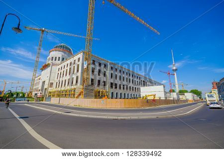 BERLIN, GERMANY - JUNE 06, 2015: Berlin city palace reconstruction, historic buiding damage on 1945 by bombing