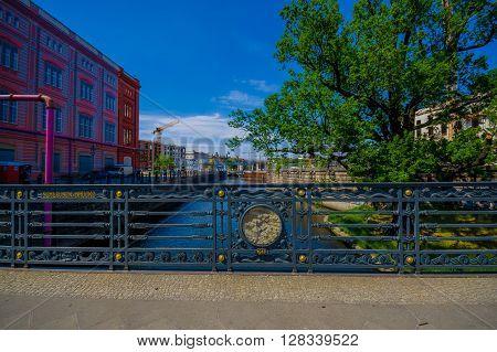 BERLIN, GERMANY - JUNE 06, 2015: Little nice and historic bridge in Berlin, Schleusen brucke