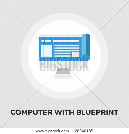 Monitor whit blueprint icon vector. Flat icon isolated on the white background. Editable EPS file. Vector illustration.