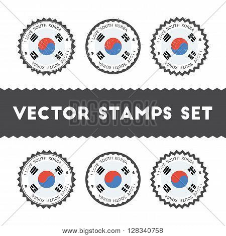I Love Korea, Republic Of Vector Stamps Set. Retro Patriotic Country Flag Badges. National Flags Vin