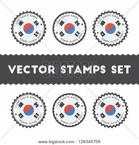 I Love Korea, Republic Of Vector Stamps Set. Retro Patriotic Country Flag Badges. National Flags Vin