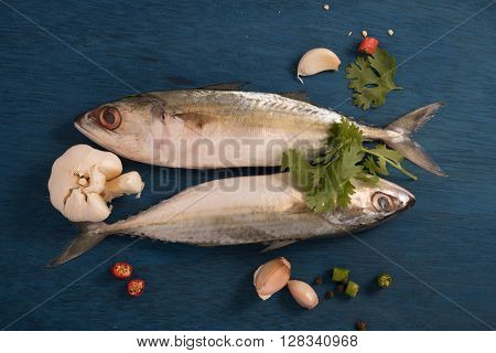 indian mackerel fish garnished with coriander leaf garlic and slice of red and green chilli pepper